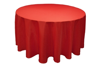 Red 120' Round Table Linen Rental