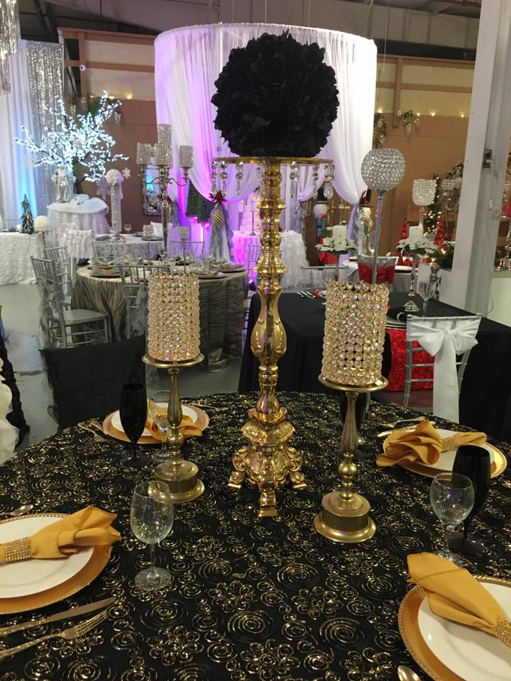 Square Candlestick Gold 30 Party Rentals Corporate Events