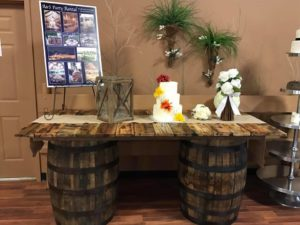 Rustic Barrel Table Rentals
