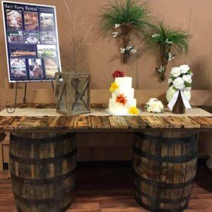 Rustic Barrel Table Rentals