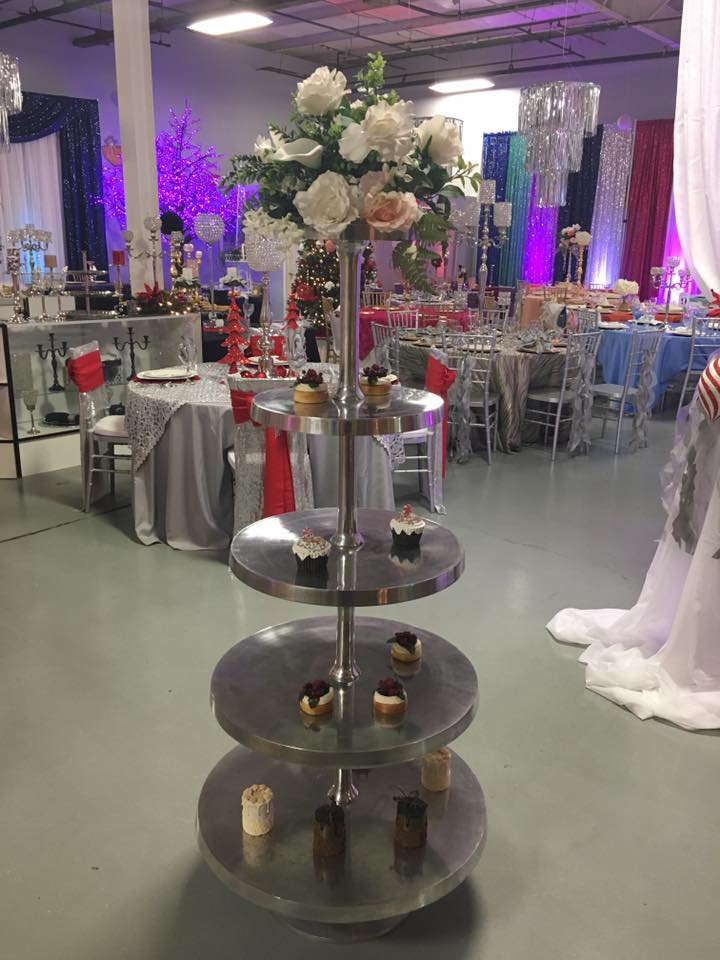 Large Silver Cupcake Stand