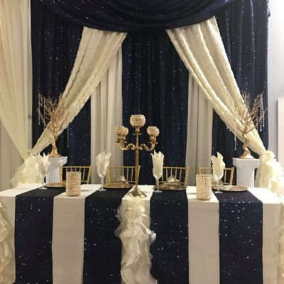 Navy and Ivory Wedding backdrop