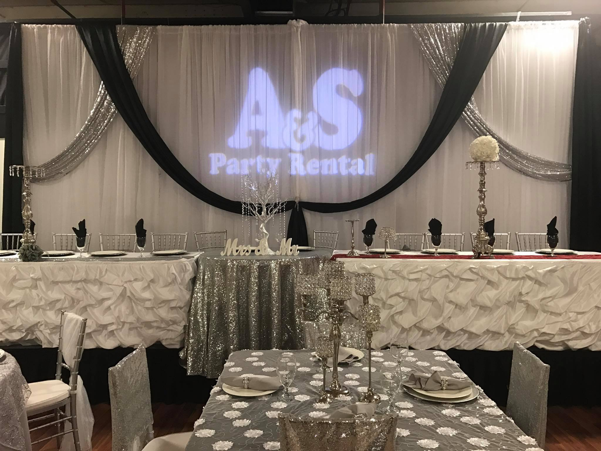 Wedding Draping Black Silver Party Rentals Corporate