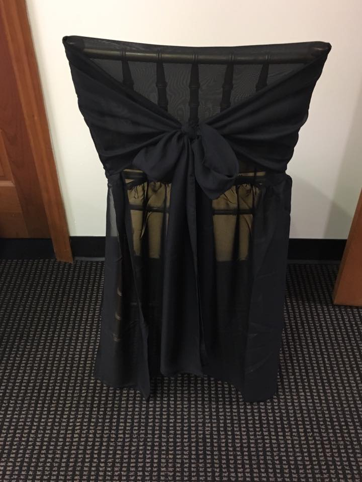 Black Chiffon Chair Cover