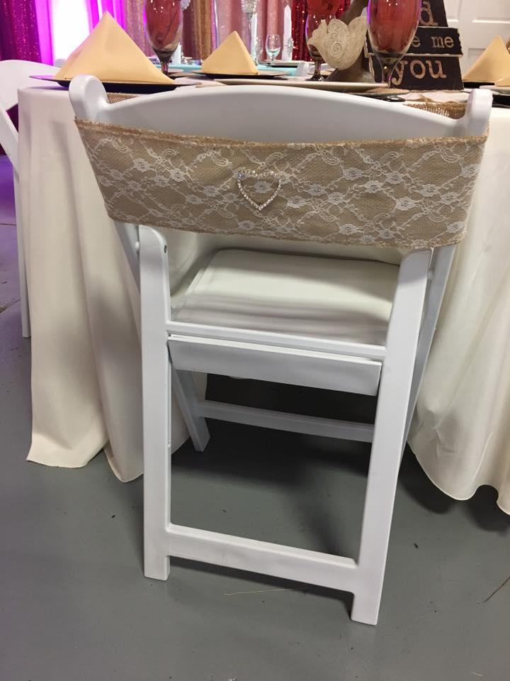 Burlap Lace Chair Sash