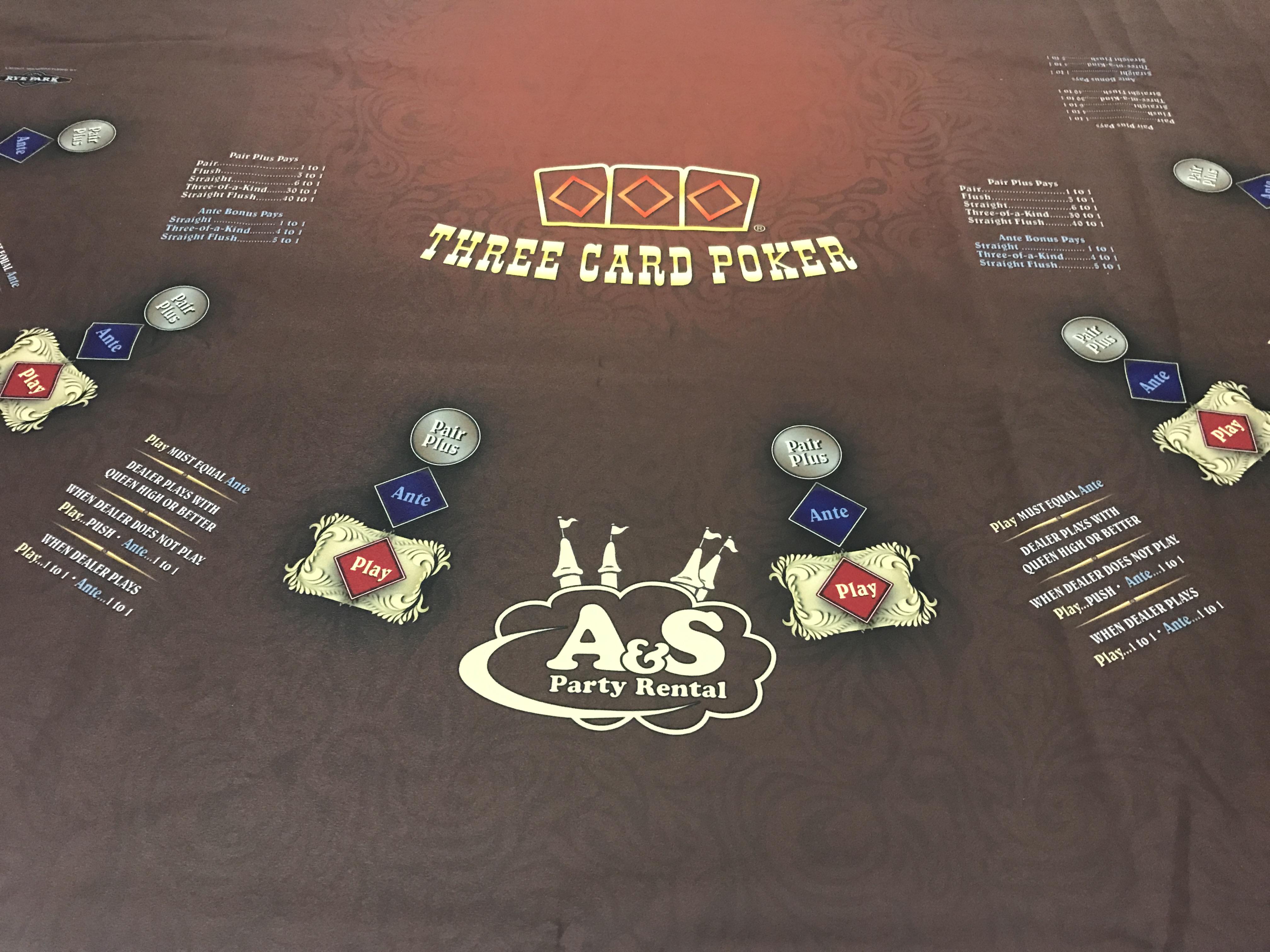 three card poker table rental