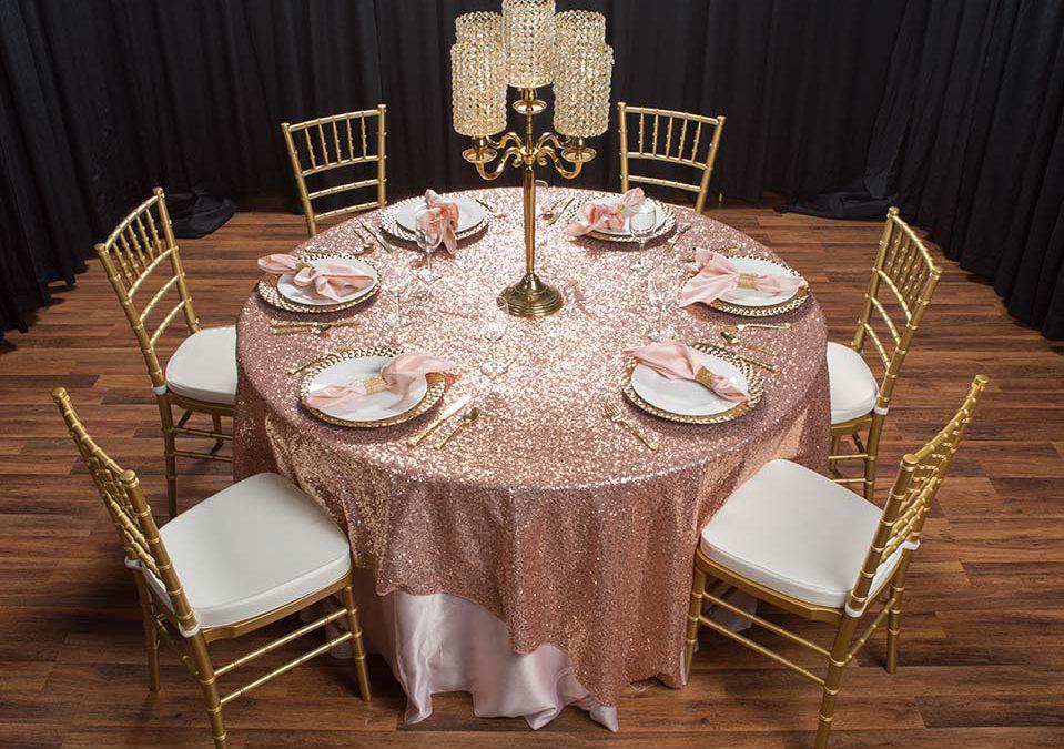 Rose Gold Linen Rental