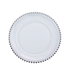 Clear Silver Beaded Charger Plate