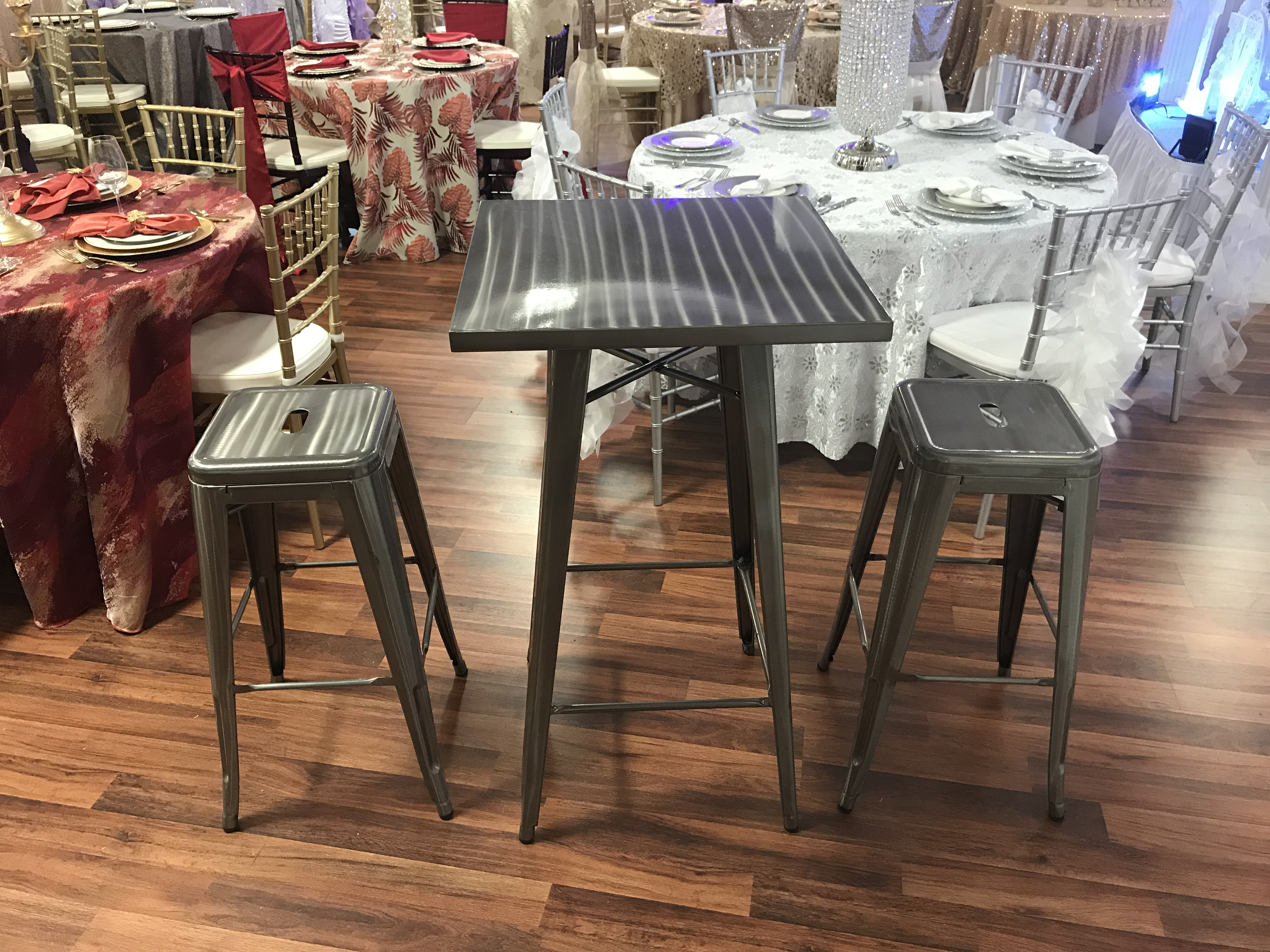 Silver Bistro Table With 2 Stools Party Rentals