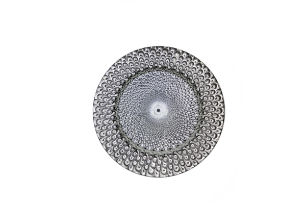 Silver Peacock Charger Plate