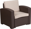 chocolate-brown-faux-rattan-chair-with-all-weather-beige-cushion rental