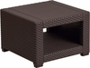 chocolate-brown-faux-rattan-end-table rental