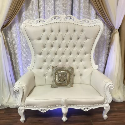large white leather settee rental