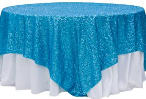 Aqua Blue Sequin Linen